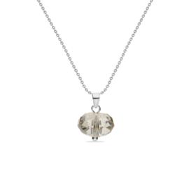 Zilveren Diskas Ketting met Beige Glaskristal Hanger