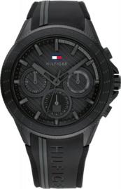 Tommy Hilfiger Zwart Heren Horloge met Siliconen Horlogeband