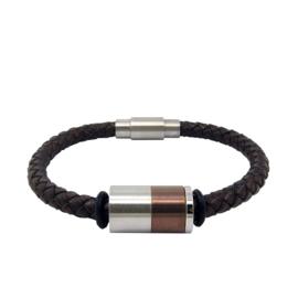 Bruin Leren Heren Armband Triple XS4M - Graveer Bedel