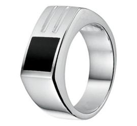 Zilveren Heren Ring met Rechthoekige Voorkant en Onyx Steen