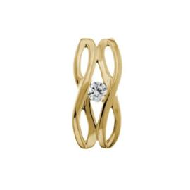 Excellent Jewelry Opengewerkte Geelgouden Hanger met Zirkonia