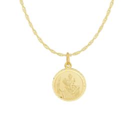 Gouden Collier van Zilver met Ronde Scapulier Hanger