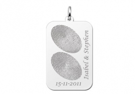 Names4ever Zilveren Dog Tag Hanger met Vingerafdruk