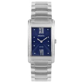 Zilverkleurig Rechthoekig Dames Horloge van Prisma met Sierdiamanten
