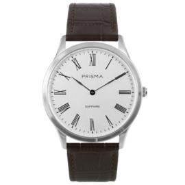 Zilverkleurig Heren Horloge met Bruin Lederen Horlogeband van Prisma