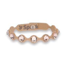 Dotty Tennis Beige Lederen Armband met Swarovski Kristallen