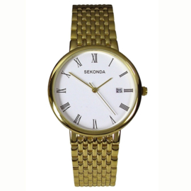 Goudkleurig Heren Horloge van Sekonda met Witte Wijzerplaat