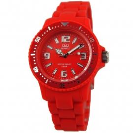 Q&Q Horloge met een horlogeband van rood rubber