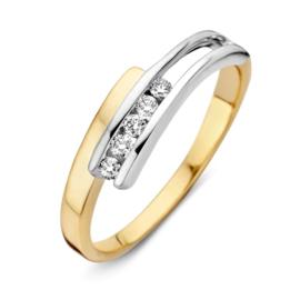 Excellent Jewelry Bicolor Ring met Opengewerkt Witgouden Uiteinde
