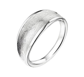 Zilveren Dames Ring met Breed Gescratcht Oppervlak