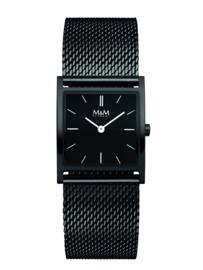 Zwart Basic Square Dames Horloge met Zwarte Milanese Band van M&M