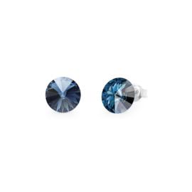 Spark Candy Zilveren Oorstekers met Donkerblauwe Glaskristal