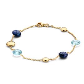 Excellent Jewelry Geelgouden Armband met Blauwe Edelstenen