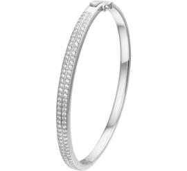 Dubbele Lijn Zirkonia's Bangle armband van Zilver