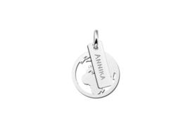 Names4ever Zilveren Wereldbol Hanger met Naamplaatje ZMNH012