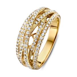 Excellent Jewelry Gouden Stroken Ring met 0,71crt. Diamanten