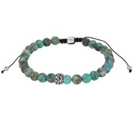 Zwarte Koord Armband met Turquoise Kralen