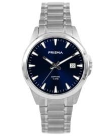 Modern Heren Horloge van Zilverkleurig Titanium met Blauwe Wijzerplaat