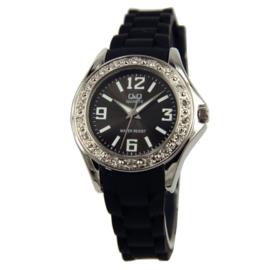 Zwart Kids Horloge met Edelstalen Kast met Zirkonia's