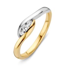 Excellent Jewelry Geelgouden met Witgouden Briljant Ring