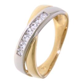 Excellent Jewelry Bicolor Dames Ring met Zirkonia Rij
