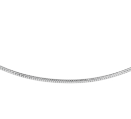 Luxueus Rond Witgouden Omega Collier | Dikte: 1,5mm Lengte: 42cm