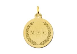 Gouden Initialen Ketting Hanger met Lauwerkrans en Drie Letters | Names4ever