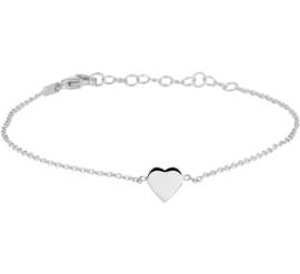 Anker Armband met Hartvormig Plaatje van Zilver