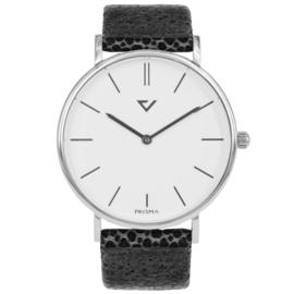Prisma Zilverkleurig Heren Horloge met Grijze Vacht Horlogeband