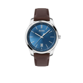 Hugo Boss Horloge Circuit Zilverkleurig Horloge met Bruine Band van Boss