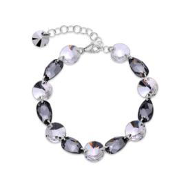 Zilveren Bovino Grijze Glaskristallen Armband van Spark