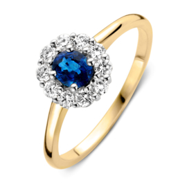 Excellent Jewelry Geelgouden Ring met 0,43 crt. Saffier Diamant