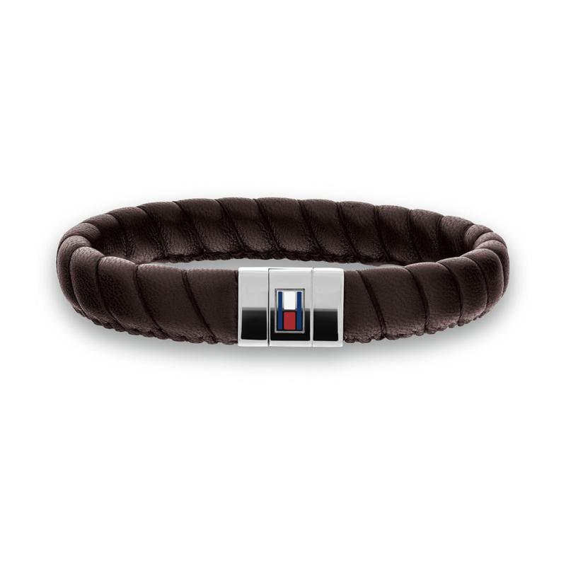 Brede Gedraaide Bruin Lederen Heren Armband van Tommy Hilfiger TJ2701057