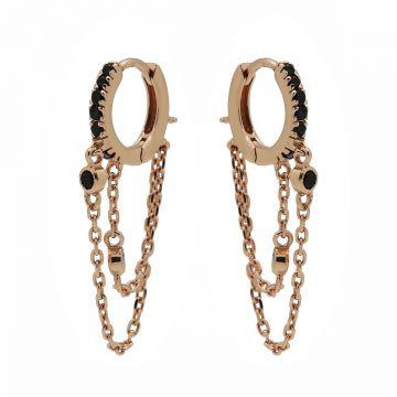 Roségoudkleurige Oorhangers met Dubbele Schakelketting | Karma Jewelry