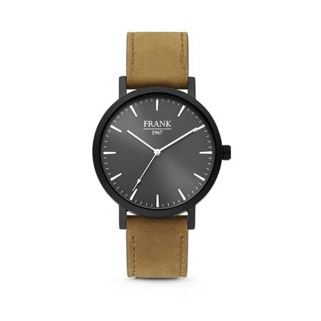 Zwart Horloge van Frank 1967 met Zwarte Wijzerplaat en Bruine Horlogeband