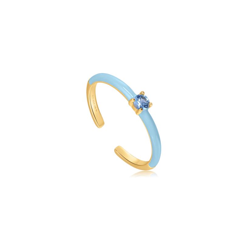Ania Haie Bright Future Goudkleurige Ring met Blauwe Zirkonia