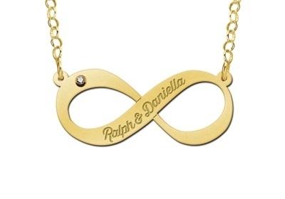 Names4ever Infinity Hanger in goud met Zirkonia - Graveer Sieraad