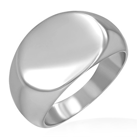 Zilverkleurige Zegelring- Graveer Ring SKU35326