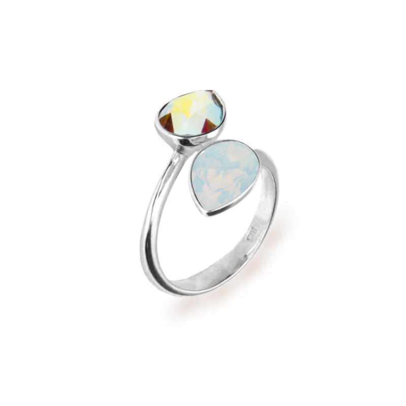 Spark Zilveren Pear Drop Ring met Swarovski Kristallen