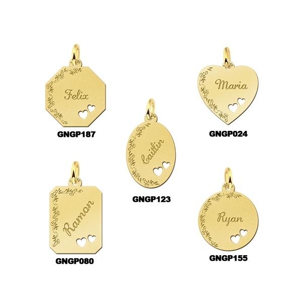 Names4ever Gouden Graveer Hanger Decoratie met Dubbel Hart