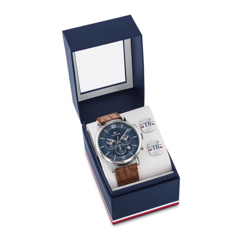 Tommy Hilfiger Robuust Zilverkleurig Horloge met Blauwe Wijzerplaat