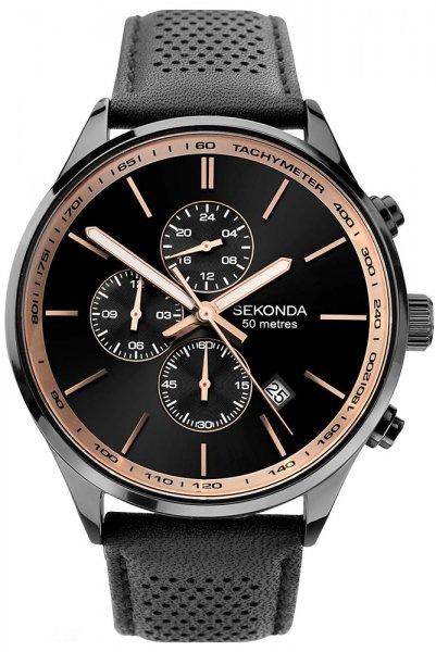 Sekonda Zwart Heren Horloge met Zwarte Wijzerplaat