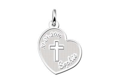 Names4ever Eerste Communie Zilveren Hart met Kruis Hanger