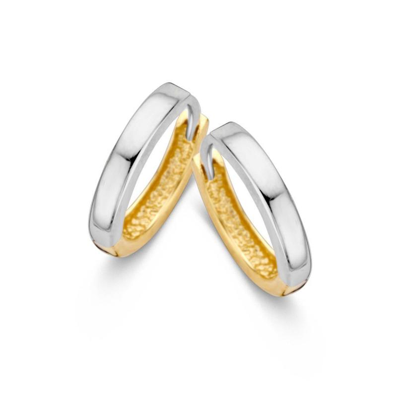 Excellent Jewelry Rechte Bicolor Creolen voor Dames