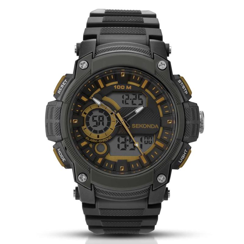 Zwart Heren Horloge met Goudkleurige Elementen