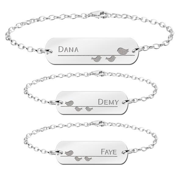 Zilveren Moeder Dochter Armbandjes Set van Drie met Vogeltjes - Names4ever Graveer