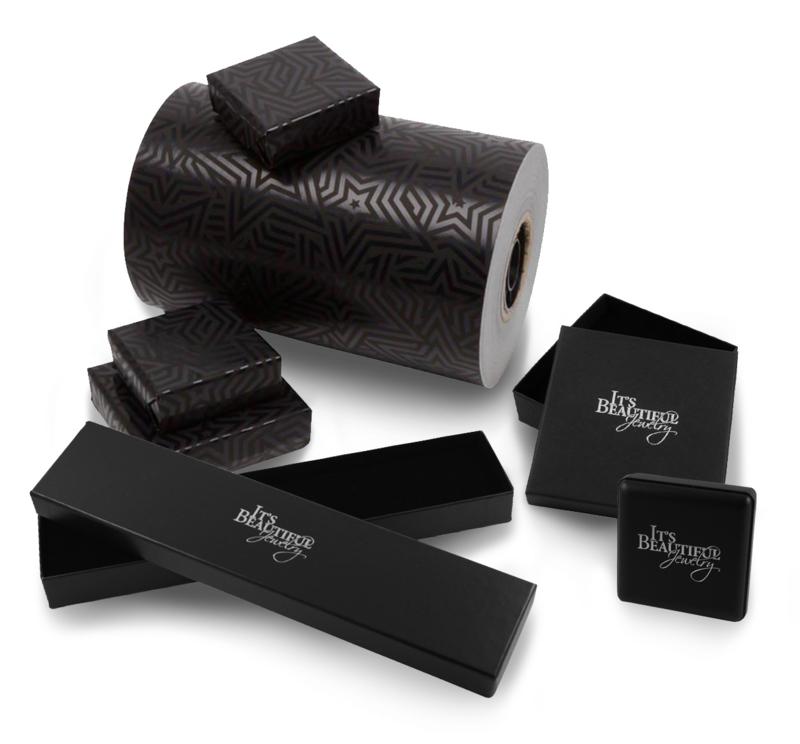 Cadeauservice » Zwart met Sterren Inpakpapier + Doosje