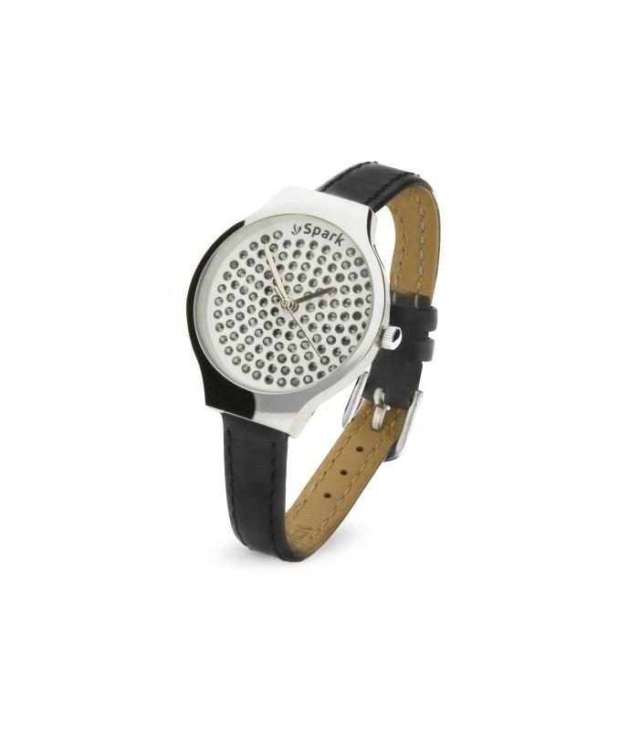 Swarovski Horloge met Donkergrijs Lederen Horlogeband van Spark