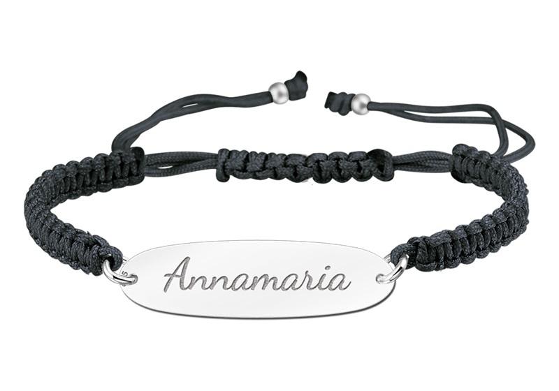 Zwarte Naamplaatje Armband > Names4ever