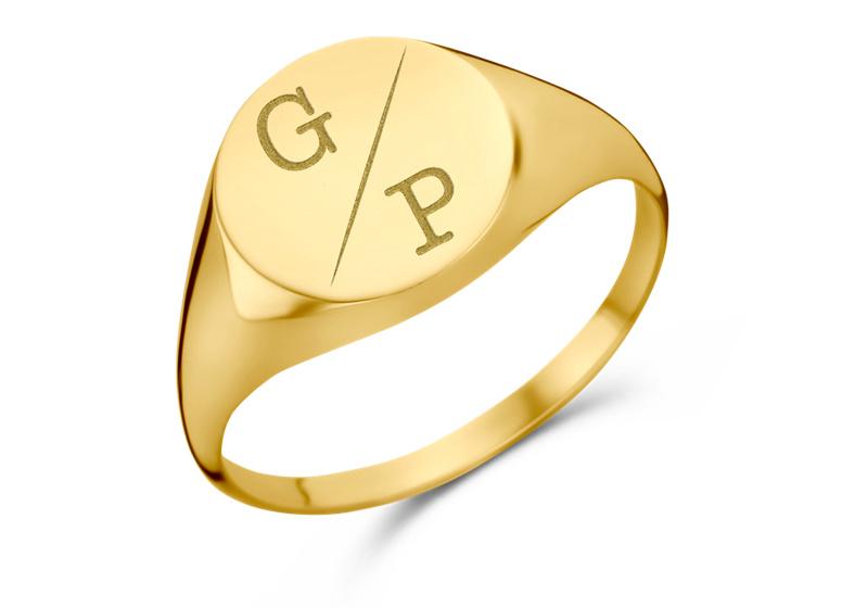 Gouden Ronde Zegelring met Twee Initialen   Names4ever